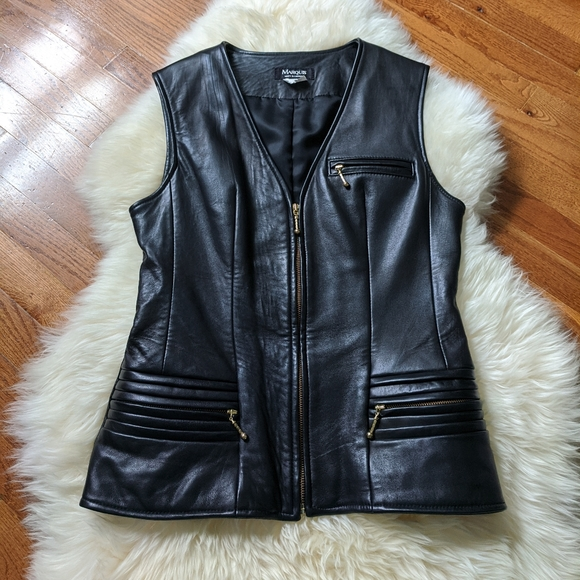 Vintage fitted leather vest